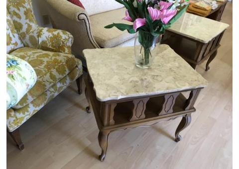 Marble top end tables